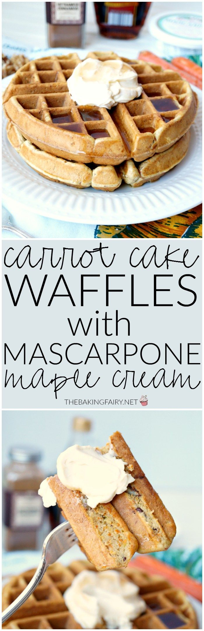 USE MY CINN-A-WONDERFUL ORGANIC WAFFLE MIX & ADD THE SHREDDED CARROTS FOR THIS ONE!  carrot cake waffles with mascarpone maple cream | The Baking Fairy
