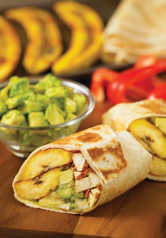Jerk Tofu, Avocado and Plantain Wraps