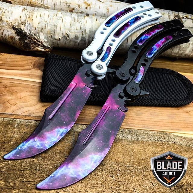 "Another huge release just happened today blade addicts! We just unveiled our brand new CSGO inspired Galaxy Balisong trainer knives! We are the only ones carrying this skin right now and they are available on our site. These are limited quantities and we hope you enjoy them as much as we do - Find it in our CS:GO knives section or search ""Galaxy"" at www.megaknife.com and be the first to pick these up!!! (Link in @blade.addict bio) - Worldwide Shipping Facebook Megaknife"