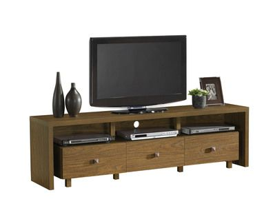 """Techni Mobili 70"""""""" TV Stand with 3 Drawer Light Walnut in Black"""