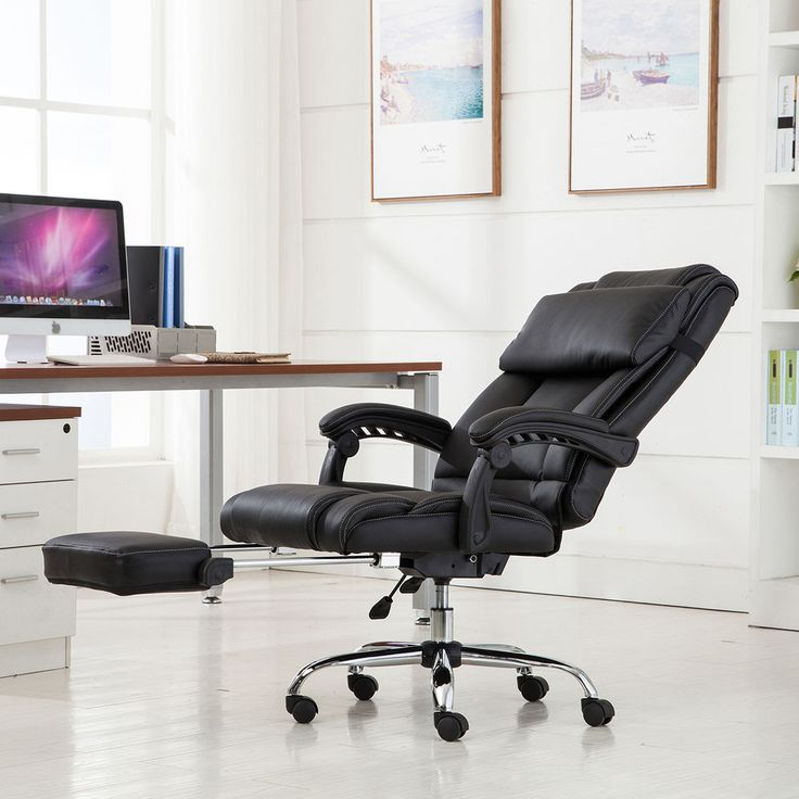 Executive Reclining Office Chair Ergonomic High Back Leather Footrest Armchair #Onebigoutlet #RecliningOfficeChair