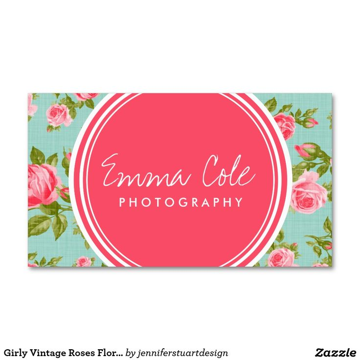Impressão floral dos rosas femininos do vintage cartão de visita