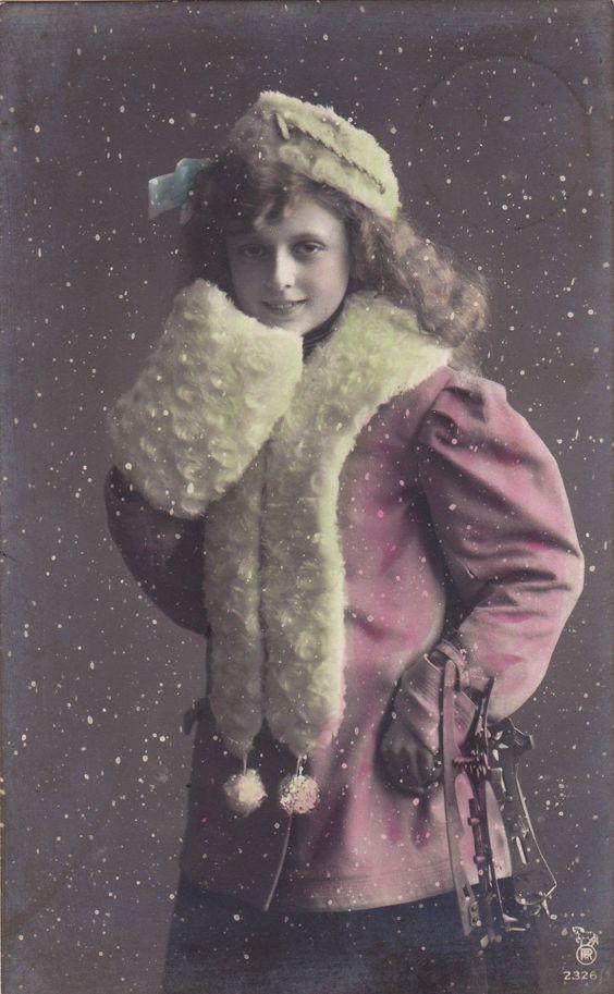 1913 Sweet Edwardian Girl in Snow with Skates Original French Postcard   eBay: