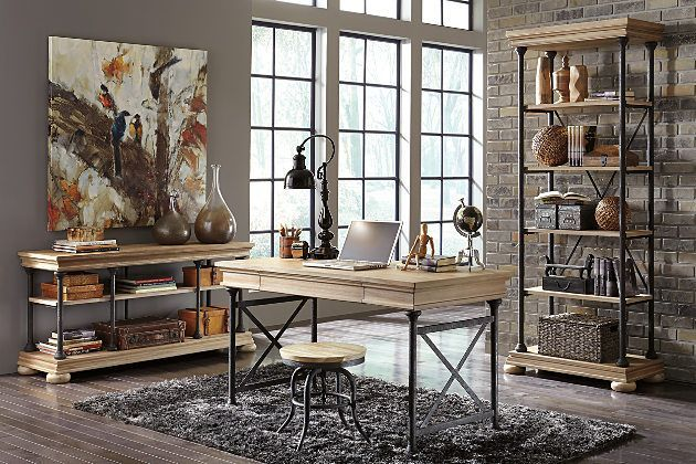 Light Brown Shennifin Home Office Set by Ashley Furniture