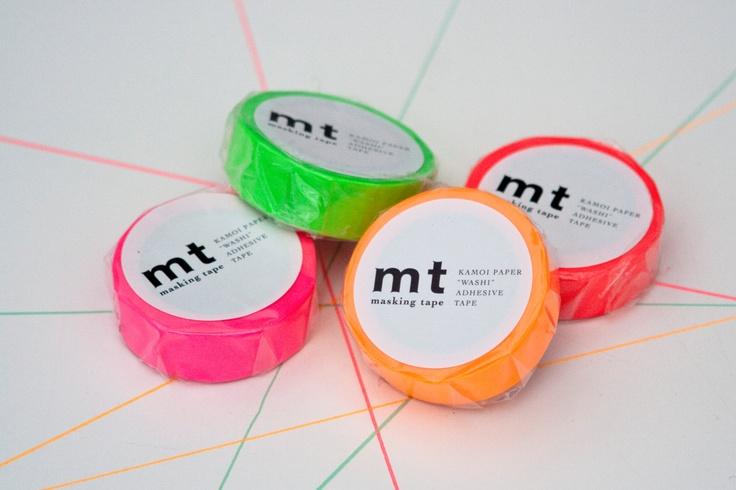 MT tape Neon/Fluor in shocking red, green, pink, orange. €2.95, via Etsy.