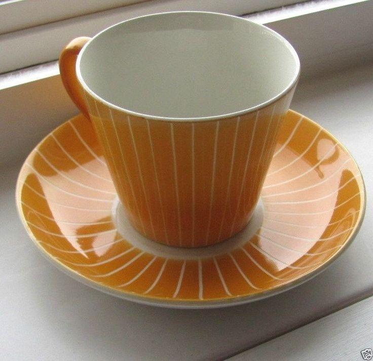 Upsala Ekeby Gefle, Cup & Saucer Made in Sweden Pattern Zenit