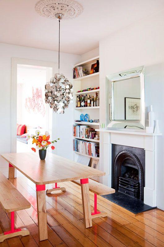 NicolaOrlando dining-room design files. fireplace, table, neon, light