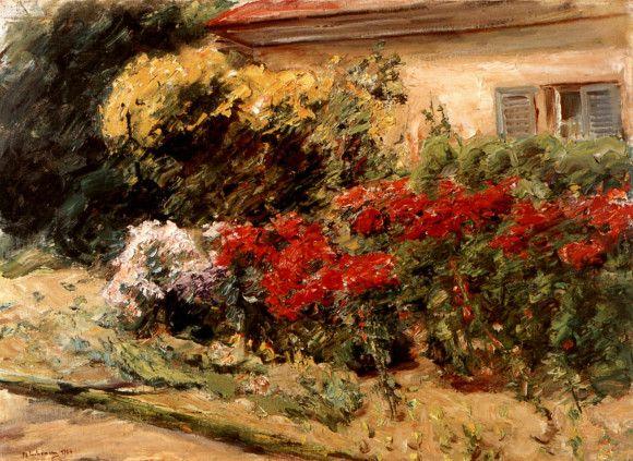 Blumenstauden vor dem Gärtnerhäuschen im Wannseegarten von Max Liebermann