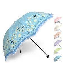 (5 peças/lote) rendas das mulheres sol guarda-chuva preto Elegante revestimento de três guarda-chuva dobrável ensolarado e chuvoso guarda-chuva Anti UV 6 cores(China (Mainland))