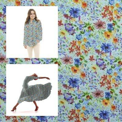 Tela popelín de algodón con estampado floral sobre un fondo agua. Popelín flamenca sostenido y de tacto muy suave, ideal para la confección de trajes de sevillana, vestidos, camisas y faldas. http://www.aleko.kingeshop.com/Popelin-Primavera-dbaaaajDa.asp