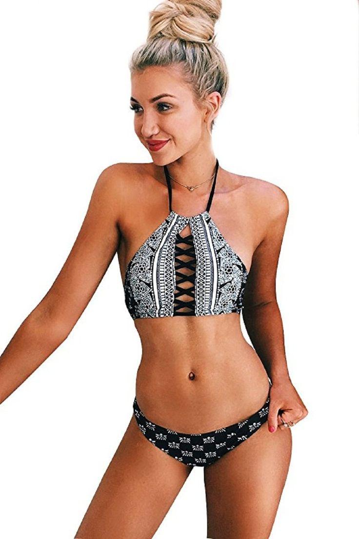 CUPSHE – Set bikini imbottito allacciato al collo nero da donna