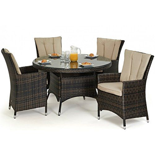 san diego baby rattan garden furniture brown 4 seater round table set