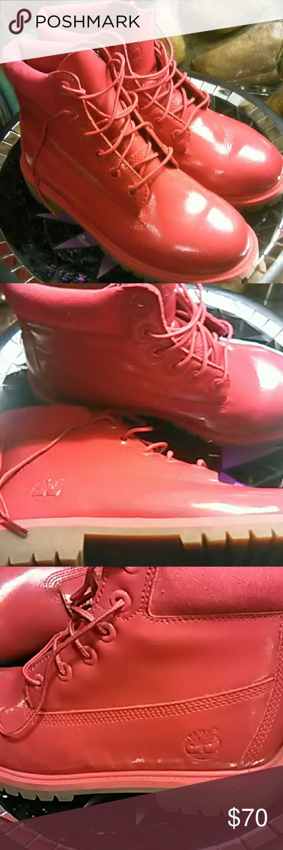 Timberland boots size 5.5 Red timberland boots size 5.5 youth.  Equivalent to women's 7.5 or 8 Timberland Shoes Winter & Rain Boots