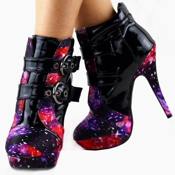 Amazon.com: Show Story Punk Buckle Night Sky High Heel Stiletto Platform Ankle Boots,LF30301: Shoes