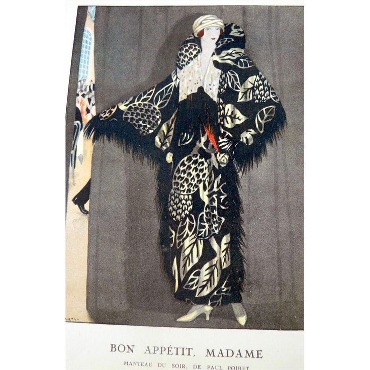 "This pochoir is number 15 from ""gazette du bon ton"" issue No. 4 published in 1923. It is titled ""Non Appetit, Madam Manteau Du Suir De Paul Poiret"". It illustrates an evening coat made by French couturier Paul Poiret. The print was drawn by André Édouard Marty (April 16, 1882-August 1974) who was a French artist who worked mainly in the classic Art Deco style."