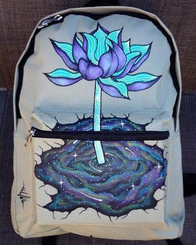 """Hand-painted Backpack w/ Original """"NebuLotus"""" Design by DosaegaCreative on Etsy https://www.etsy.com/listing/218942260/hand-painted-backpack-w-original"""