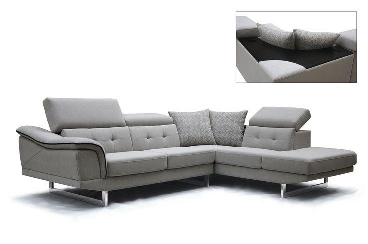 Modern Adjustable Headrests Grey Fabric Sectional Sofa