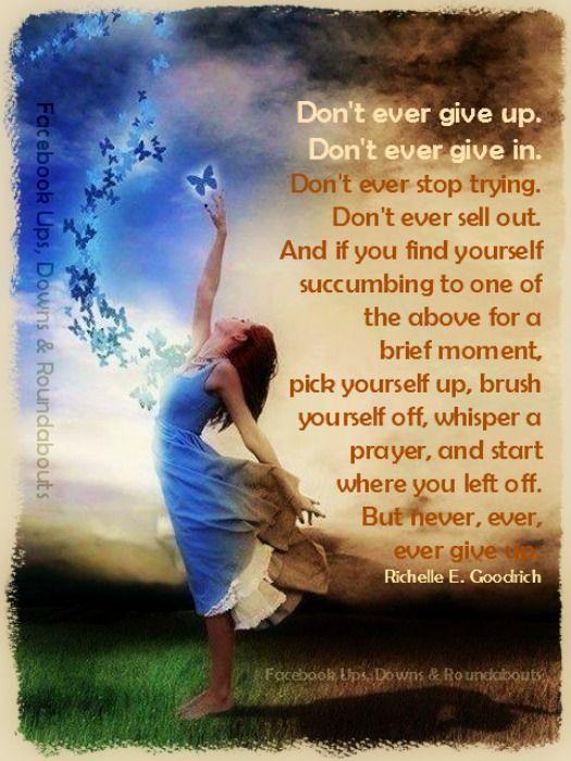 Don't ever give up. Don't ever give in. Don't ever stop ...