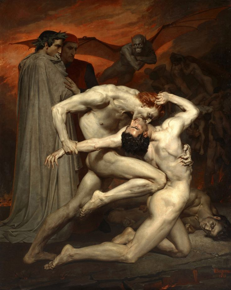 "aqua-regia009: "" ""Dante And Virgil In Hell"" (1850) - William-Adolphe Bouguereau """
