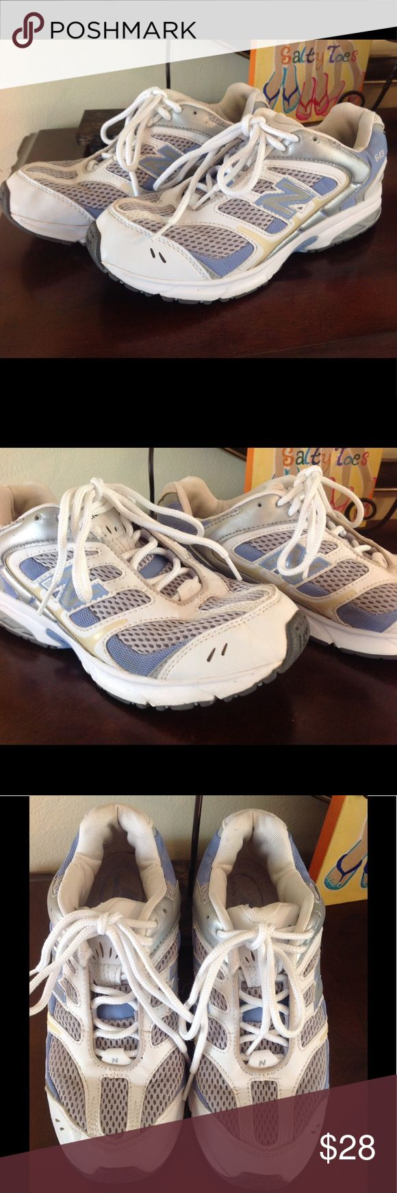 """NEW BALANCE 643 Abzorb KJ643SPG MEN 6 1/2 This is a nice preowned pair of New Balance 643 Abzorb men's athletic shoes in a size 6 1/2.  The outside of the shoe measures 10 1/2"""" and across the top is 5 1/2"""". Could possibly fit woman size 7 1/2"""" see measurements for exact fit. Colors are white blue, grey and cream trim. See photos for more condition details. Show slight signs of wear, look good. Questions please ask. New Balance Shoes Athletic Shoes"""