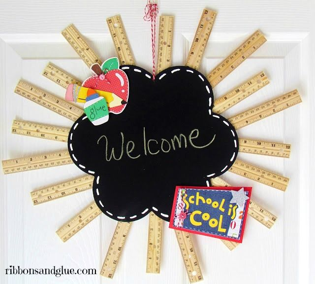 DIY Welcome Back to School Ruler Wreath.  Made with wood rulers hot glued on the back of a chalkboard.