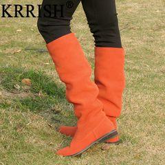 Krrish книга · Обычная низком каблуке сапоги горячей чистой кожи нубук кожа женщины сапоги в стиле круглый
