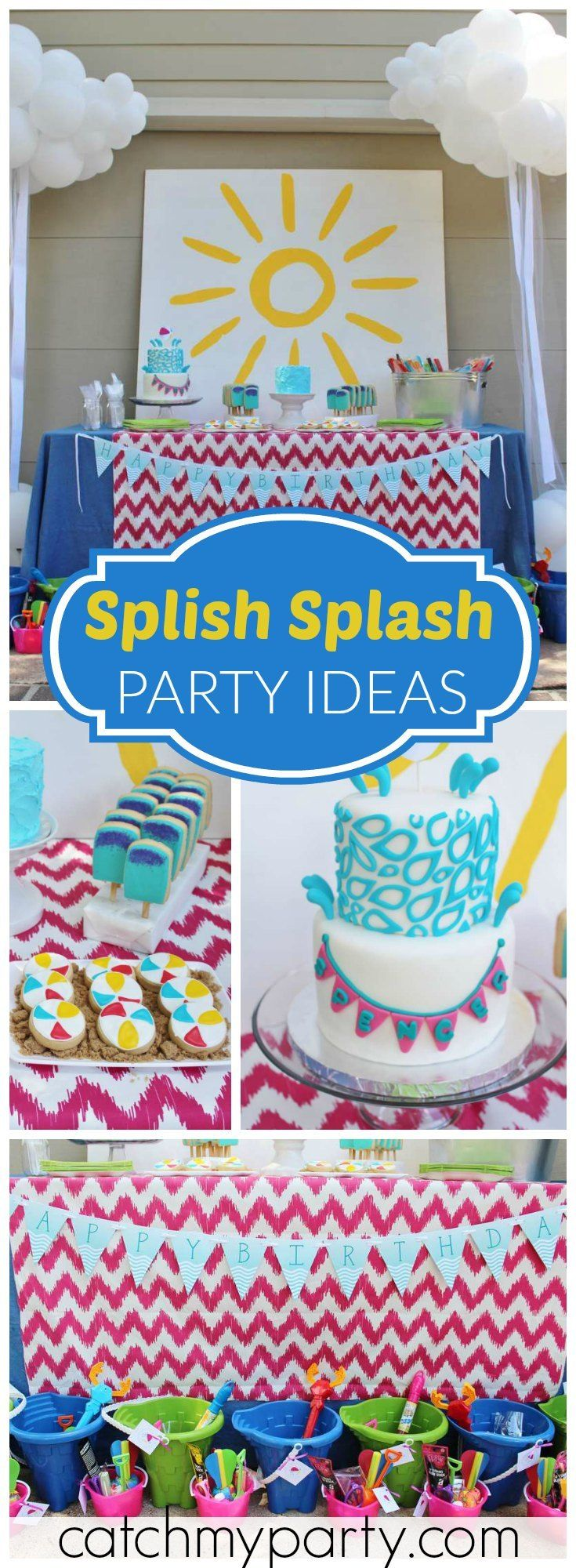 How fun is this splish splash pool party for a first birthday?! See more party ideas at Catchmyparty.com!