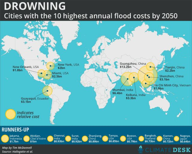 MAP: Global Flood Damage Could Exceed $1 Trillion Annually by 2050 -  Find out which cities are most at risk.