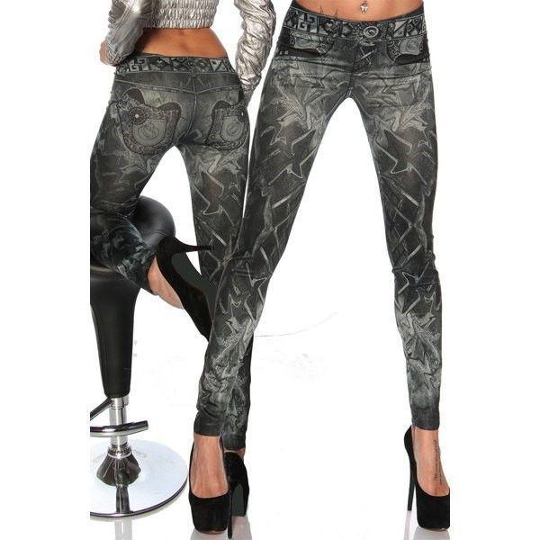 Leggings Casual Slimming Mid-Waisted Tattoo Graffiti Print Women's Jean effect x