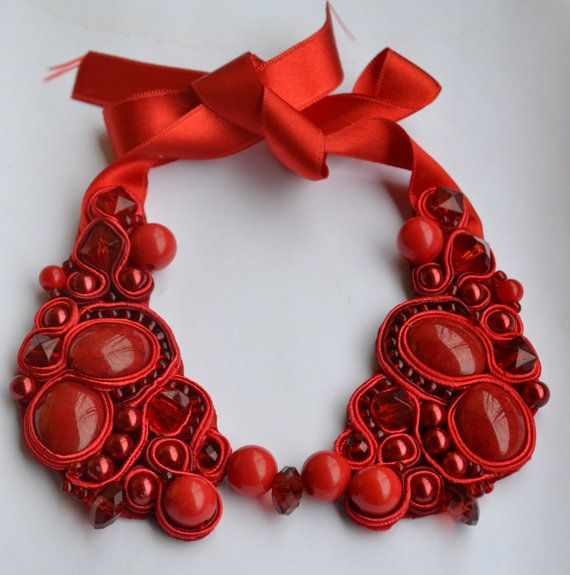 Beautiful and fine soutache, beaded,red collar sur Etsy, $43.27 CAD