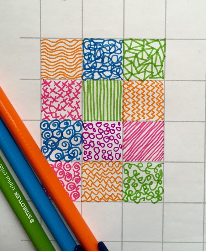 Patchwork mark making and doodling by filling in one inch squares, with a link to free patterned paper downloads