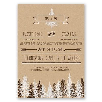 Burlap Kraft Wedding Invitation - Forest, Evergreen, Vintage, Arrow at Invitations By David's Bridal