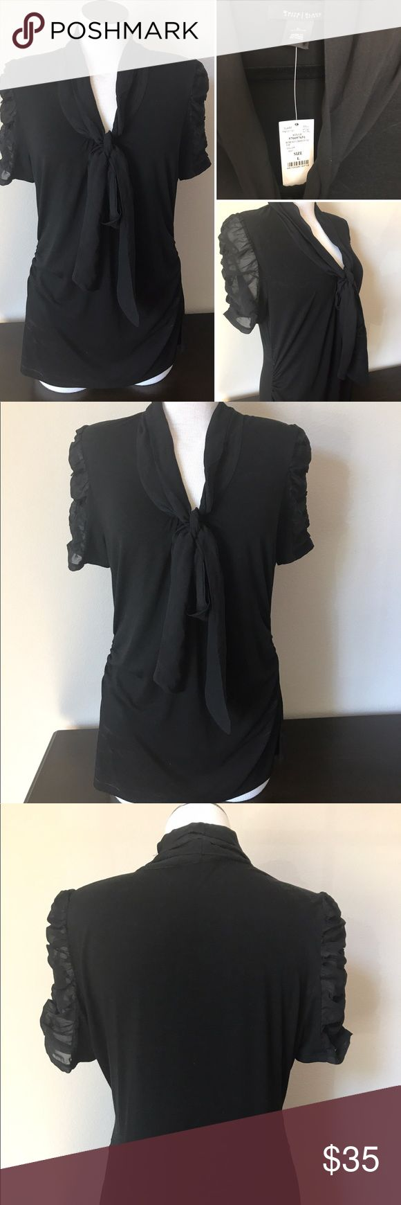 Mixed Media Blouse Short sleeve mixed Media Blouse with tie front. Rouched shaping on sides, shear sleeves.  More stylish than basic black White House Black Market Tops Blouses
