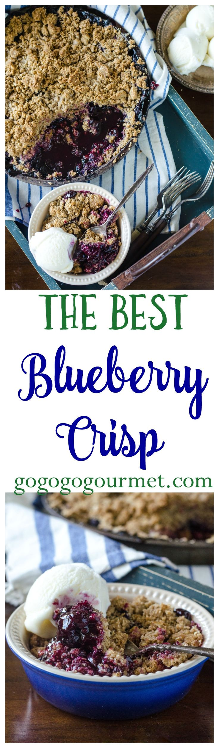 The BEST Blueberry Crisp recipe on all of Pinterest! | Go Go Go Gourmet @gogogogourmet