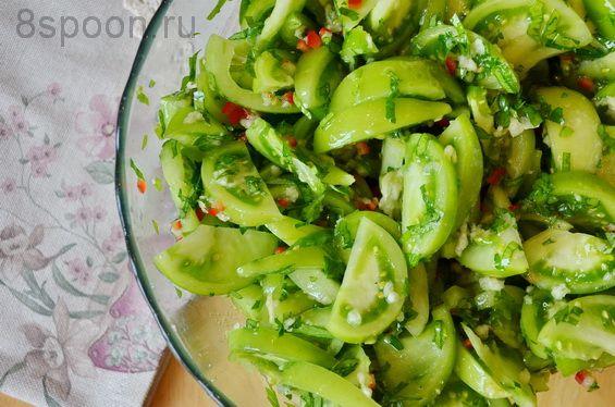 Зеленые помидоры на зиму с чесноком и острым перцем «Кобра» | 8 Ложек