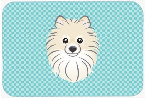 Checkerboard Blue Pomeranian Mouse Pad, Hot Pad or Trivet BB1145MP