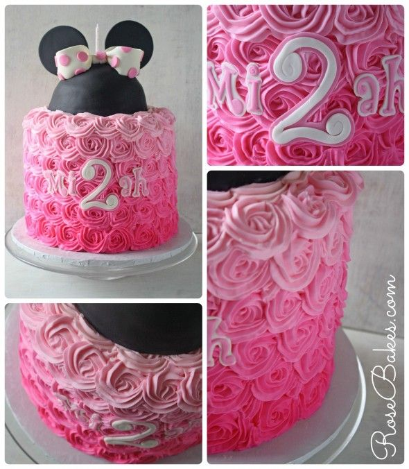 Pink Ombre Buttercream Roses Minnie Mouse Cake