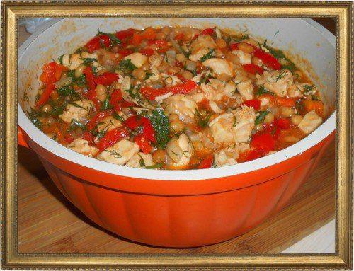 Соте из курицы с фасолью