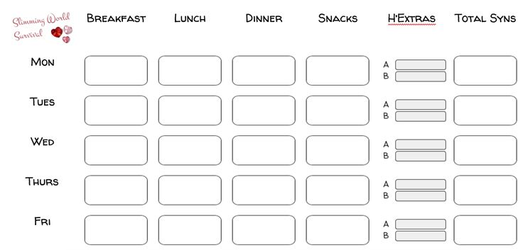 Syn Tracker and Weekly Food Diary or Planner for slimming world.