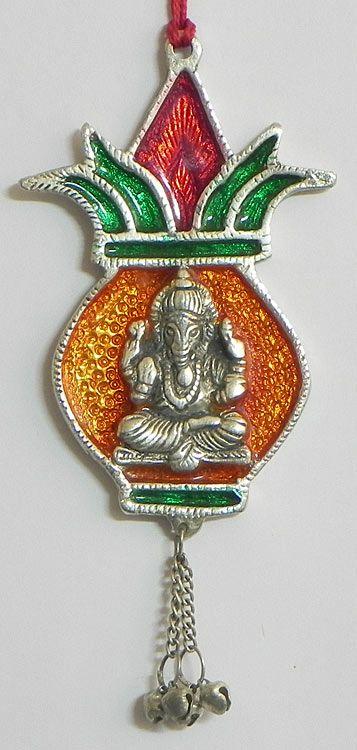 Ganesha on Kalash - Wall Hanging (White Metal))