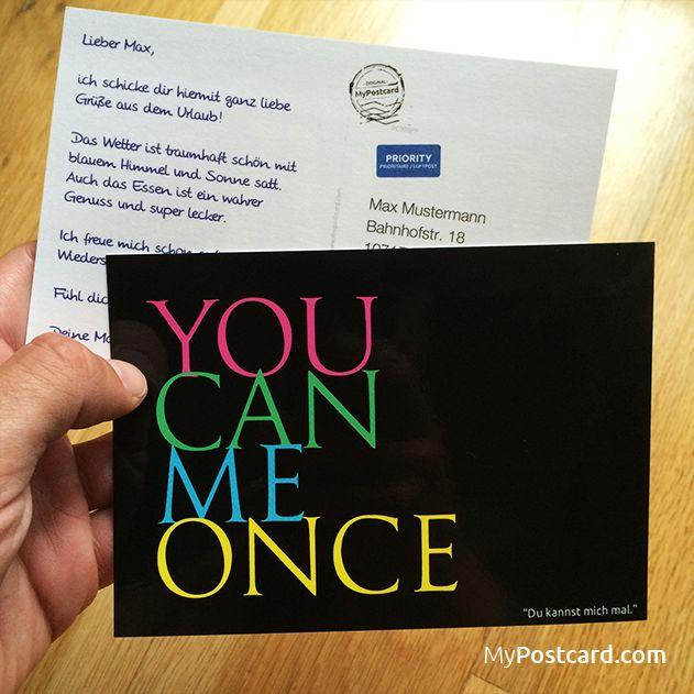 """Denglisch - """"Du kannst mich mal"""" - sende diese weltweit mit der kostenlosen MyPostcard App - #mypostcard #denglisch #grußkarte"""