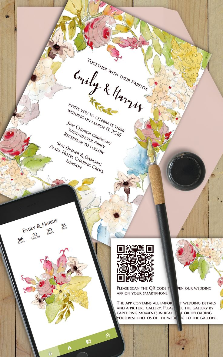 Spring wedding invitation suite with webapp in the same design!