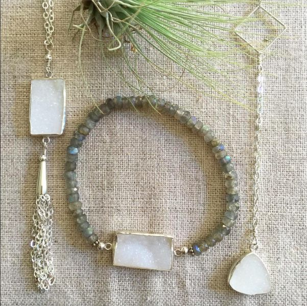Some white druzy pieces from our collections