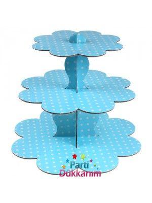 Mavi Kek Standı 3 Katlı (Beyaz Puanlı)