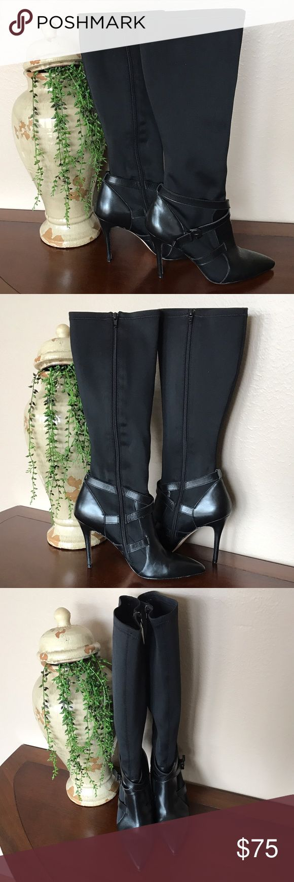 Charles David leather/stretch fabric boot Full side zipper black knee high boot. Shoes Heeled Boots
