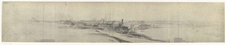 frères Moreau   Gezicht op Arnhem, 1672, frères Moreau, Adam Frans van der Meulen, 1900 - 1903   Foto van een tekening met een panoramisch gezicht op Arnhem, bereikt door het Franse leger in juli 1672. Onderdeel van een serie foto's van tekeningen van veroverde steden tijdens de Franse inval in de Nederlanden in 1672.