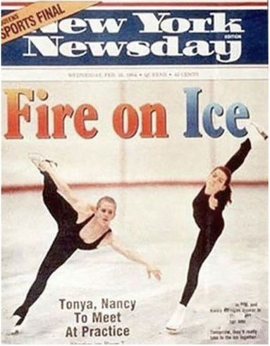 Faked Forgiveness – This photo of Nancy Kerrigan and Tonya Harding practicing together appeared on the cover of New York Newsday with a headline claiming the pair will skate together the following day. However the two never practiced together after Kerrigan was attacked by an associate of Tonya Harding's husband and the photo was actually two photographs combined to appear like they were together.