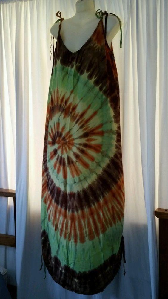 Long dress One size 16 18 20 Soft rayon Hippy tie dye Tie Up sleeve