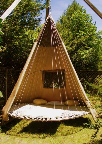 This teepee hamock will allow users to lounge outside while enjoying some shade. This will be the future of spring decor because users will be able to quickly escape outside with loved ones and enjoy the fresh spring air even during the spring showers.  The flat surface also allows