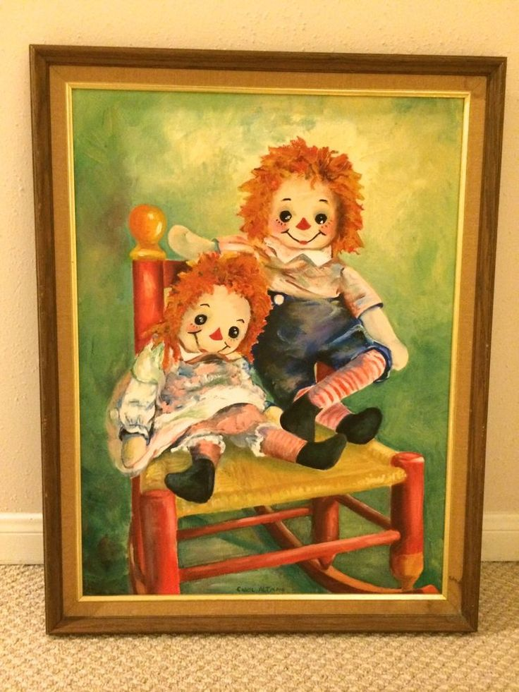 Raggedy Ann Amp Andy Oil Painting On Canvas Signed 1970